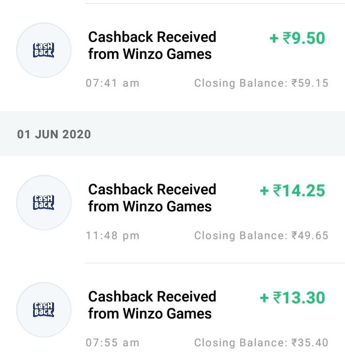 Winzo App Payment Proof